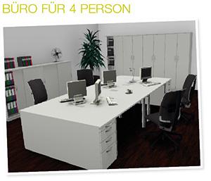Büroplanung 4er-Arbeitsplatz