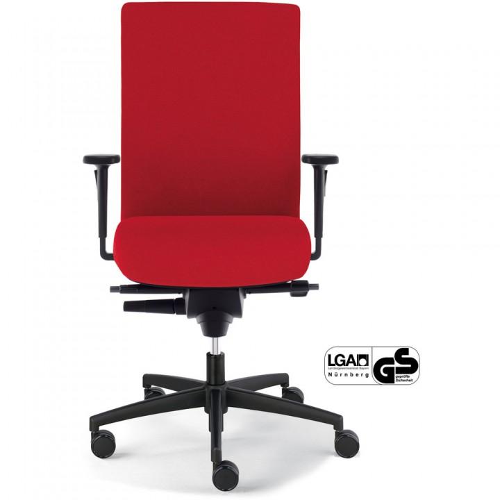 Bürostuhl Sim-O, weiche Rollen, Gestell mit 5 Rollen, Stoff, rot