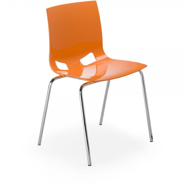 Besucherstuhl Fondo Visitor, glänzend, PP, orange, ohne Armlehnen