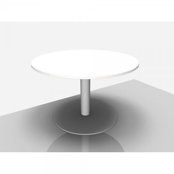 Bespr.tisch Pro Rund mit Säulenfuß, 1.200 x 720 mm, grau