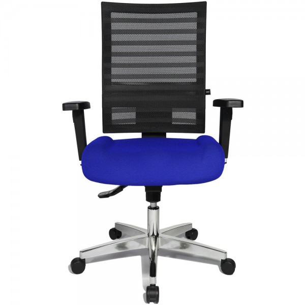 Bürodrehstuhl Ergo Net, mit Armlehnen, Aluminiumfußkreuz, blau