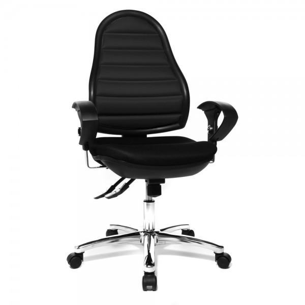Bürodrehstuhl Ergo Space, mit Armlehnen, verchromt, schwarz