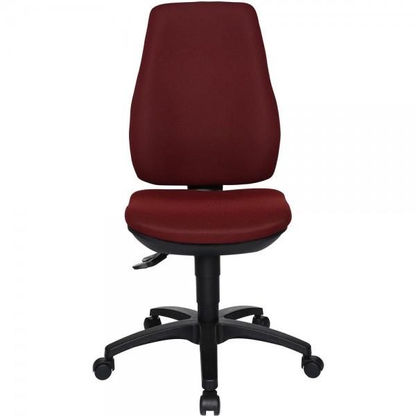 Bürodrehstuhl Ergo Basic, ohne Armlehnen, Kunststofffußkreuz, bordeaux