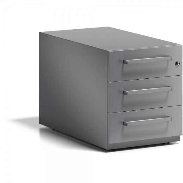 Rollcontainer Note, m. Designgriff, Schlüsselschloss, 3 Schubladen