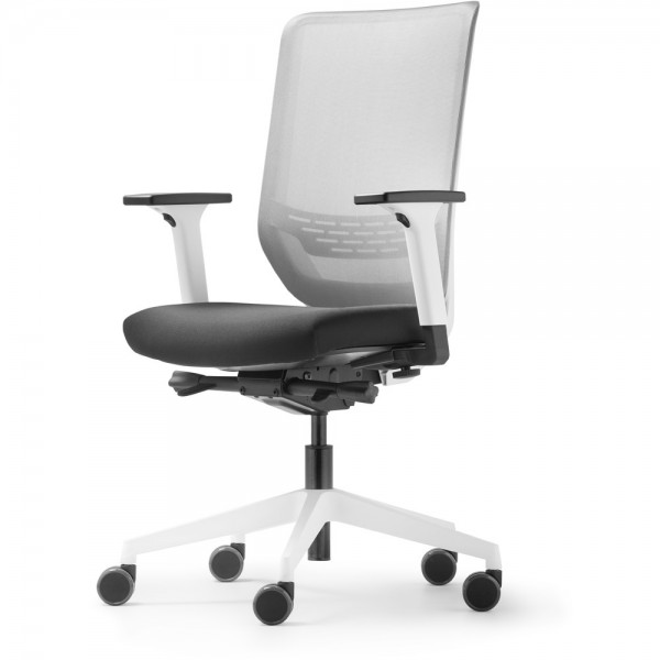 Bürodrehstuhl To-sync work mesh, Netzrücken, weiß, mit Armlehnen