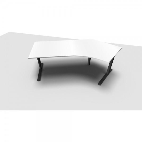 Schreibtisch All in One, re.abgew., 2.170x800/1.130x650-820mm, diam.we
