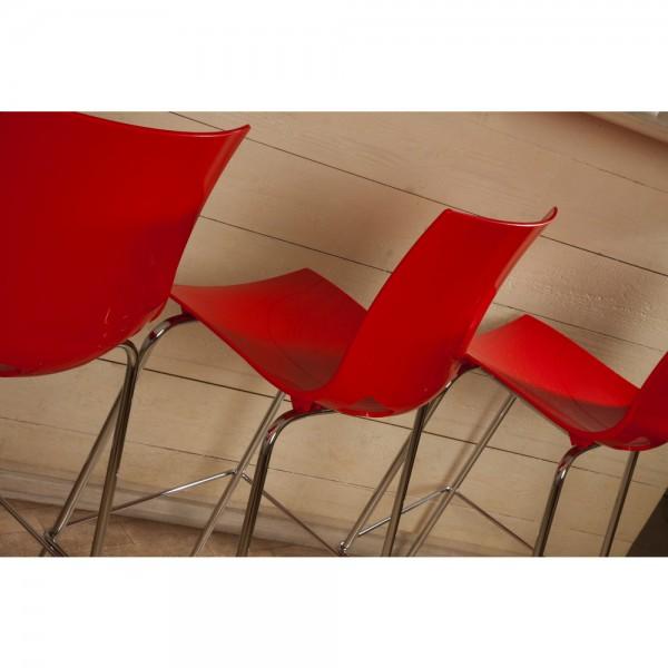 Barhocker Fondo, glänzend, PP, rot, verchromt, 51,8x48,4x110cm