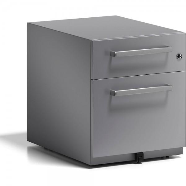 Rollcontainer Note, m. Designgriff, Schlüsselschloss, 2 Schubladen