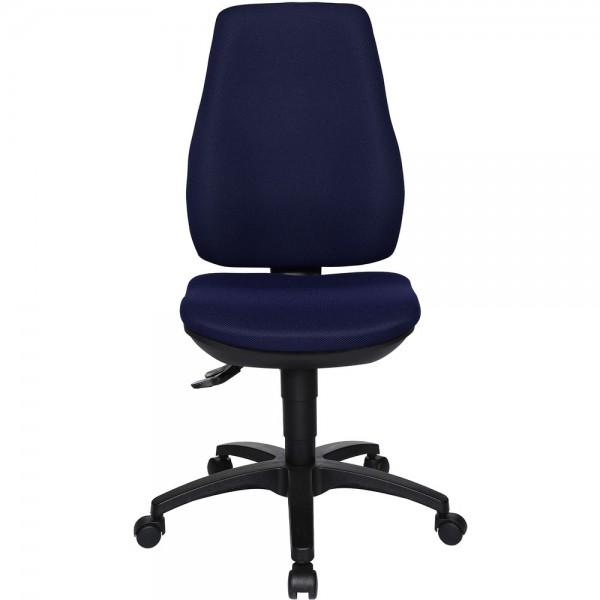 Bürodrehstuhl Ergo Basic, ohne Armlehnen, Kunststofffußkreuz, blau