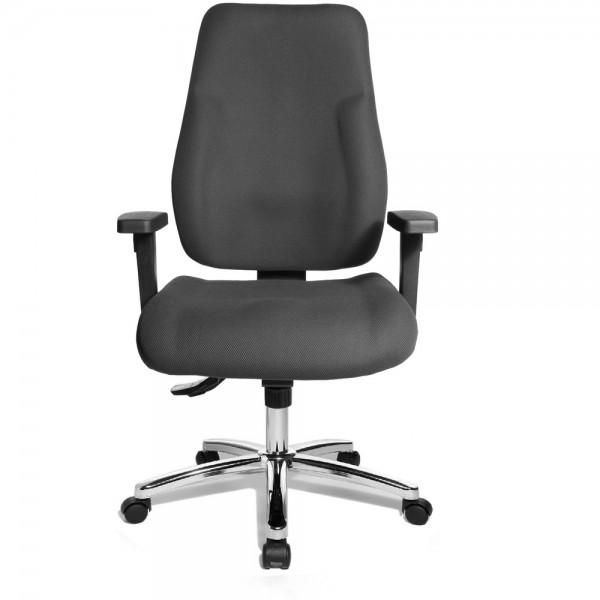 Bürodrehstuhl Ergo Office Work, 600 mm, mit Armlehnen, verchromt, grau