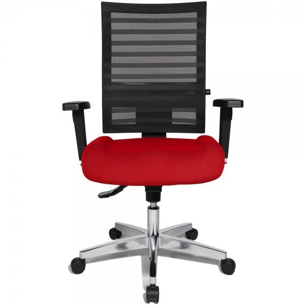 Bürodrehstuhl Ergo Net, mit Armlehnen, Aluminiumfußkreuz, rot