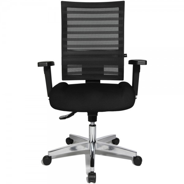 Bürodrehstuhl Ergo Net, mit Armlehnen, Aluminiumfußkreuz, schwarz