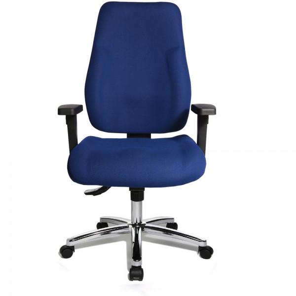 Bürodrehstuhl Ergo Office Work, 600 mm, mit Armlehnen, verchromt, blau
