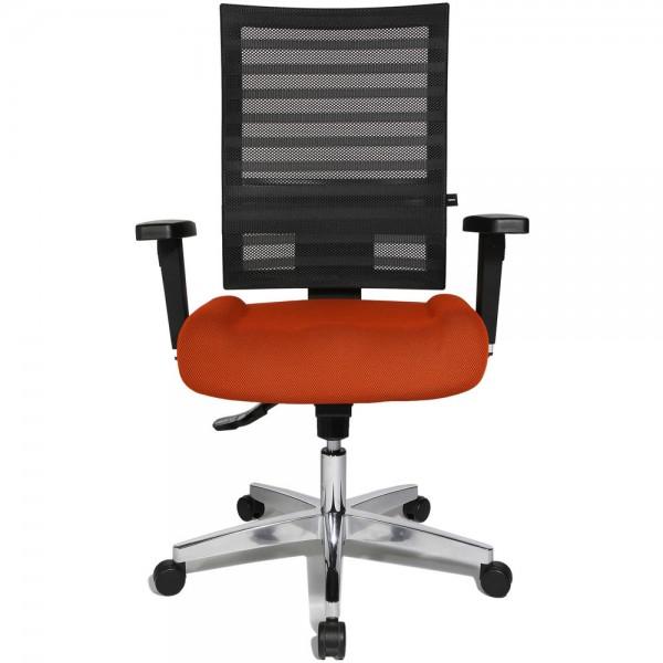 Bürodrehstuhl Ergo Net, mit Armlehnen, Aluminiumfußkreuz, orange