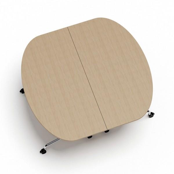 Konferenztisch FLIB, M05, halboval, 1.600x800x750mm, weiß