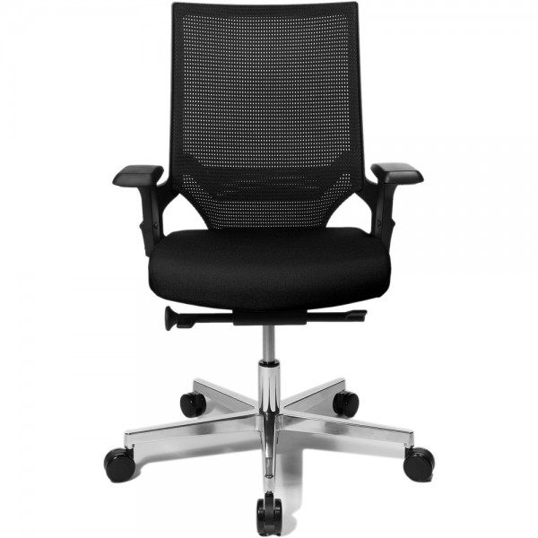 Bürodrehstuhl Ergo Passion, mit Armlehnen, Aluminiumfußkreuz, schwarz