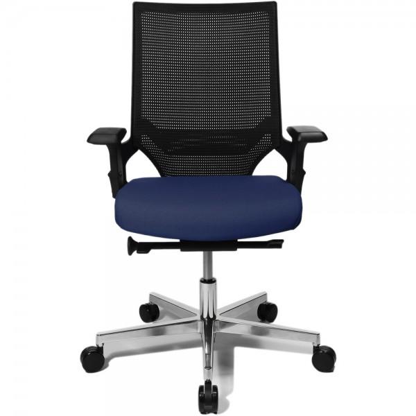 Bürodrehstuhl Ergo Passion, mit Armlehnen, Aluminiumfußkreuz, blau