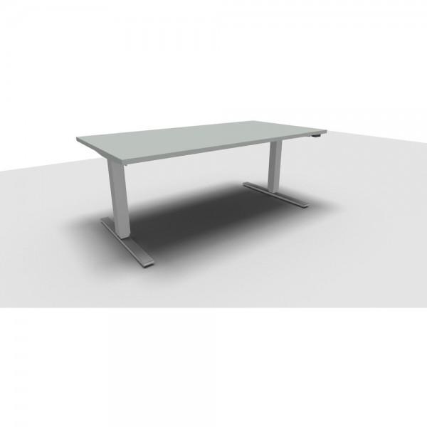 Rechteckschreibtisch All in One Move, 1.600x800x620-1.280mm, lichtgrau