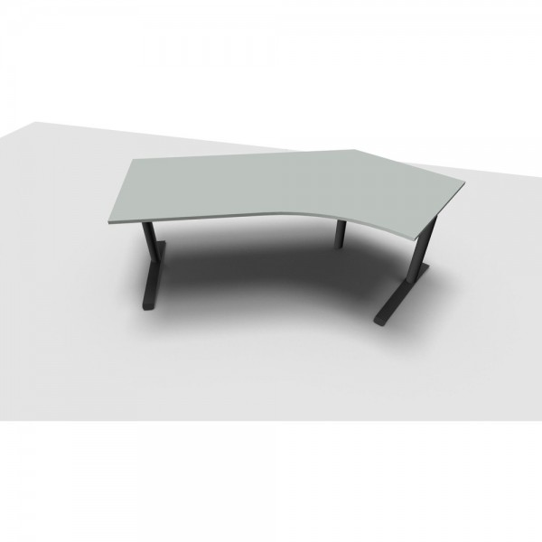 Schreibtisch All in One, re.abgew., 2.170x800/1.130x650-820mm, lichtgr