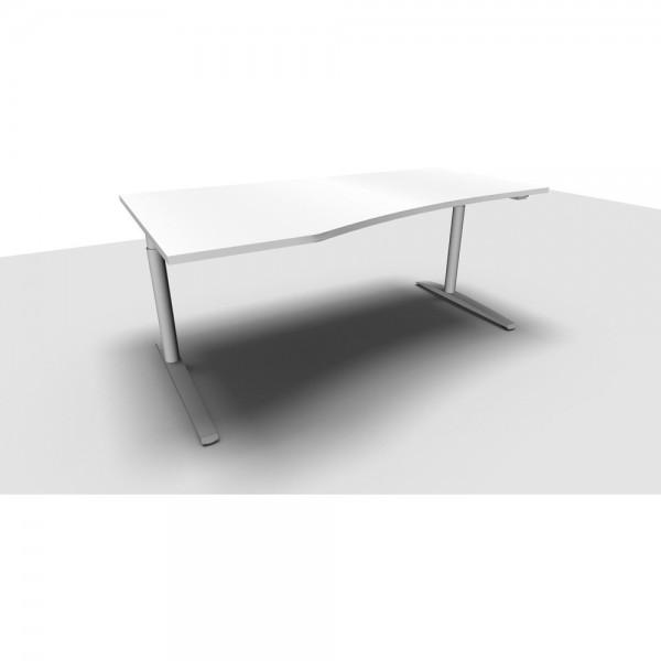 Freiformtisch All in One, rechts, 1.800x800/1.000x650-850mm, lichtgrau