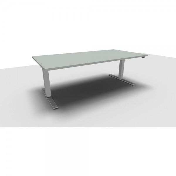 Rechteckschreibtisch All in One Move, 1.800x800x620-1.280mm, lichtgrau