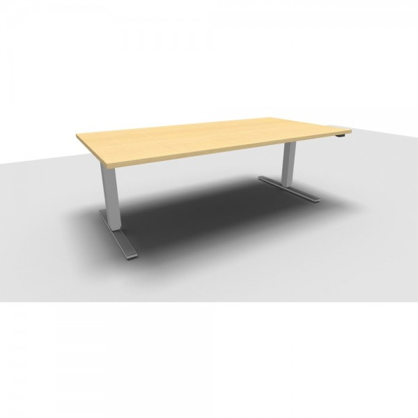 Rechteckschreibtisch All in One Move, 1.800x800x620-1.280mm, ahorn