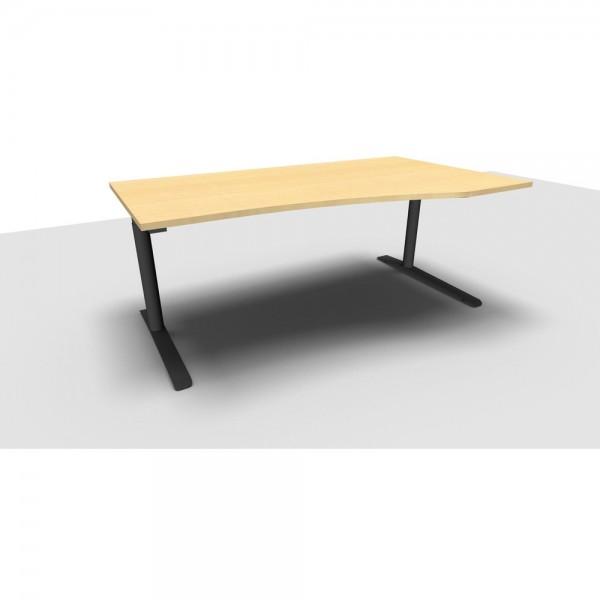 Freiformtisch All in One, rechts, 1.800x800/1.000x650-850mm, ahorn