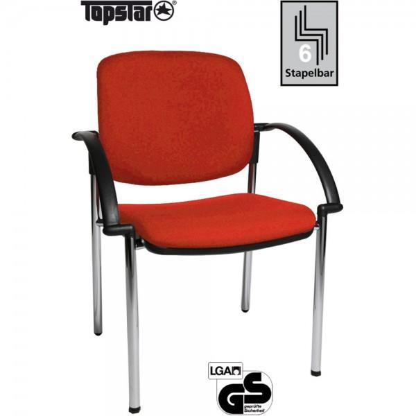 Besucherstuhl Open Chair 20 Visitor, Gepolstert, Stoff, rot