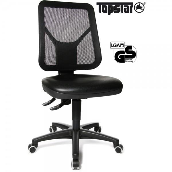 Arbeitsstuhl TEC 80, höhenverstellbar, Kunststofffußkreuz, schwarz