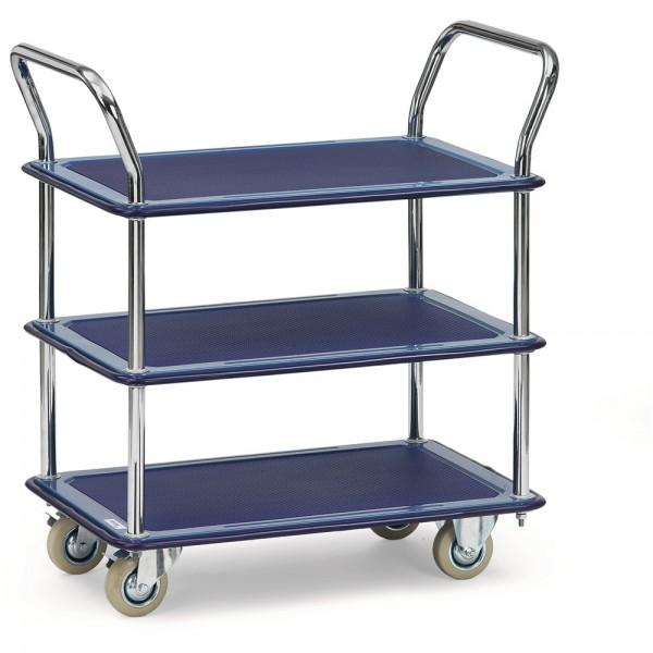 Transportwagen, mit 3 Böden, Ladefläche: 480 x 740 mm, Tragf.: 120 kg