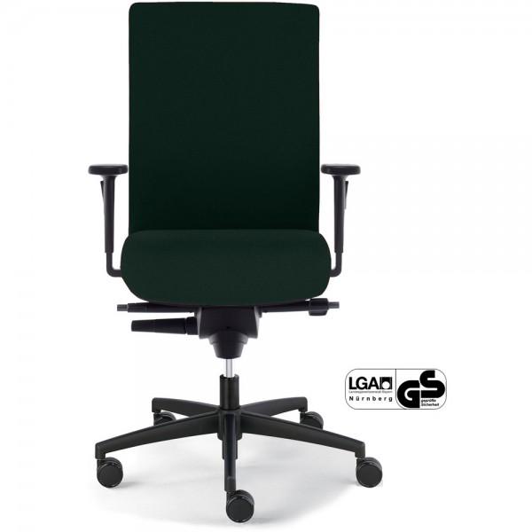 Bürostuhl Sim-O, weiche Rollen, Gestell mit 5 Rollen, Stoff, schwarz