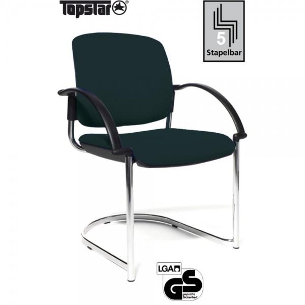 Besucherstuhl Open Chair 40 Visitor, Gepolstert, schwarz