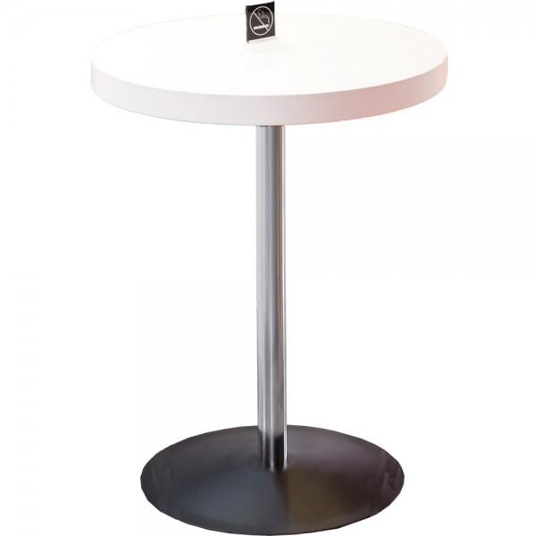 Bistrotisch, rund, 600x760mm, Melamin, weiß, Säulenfuß, Chrom