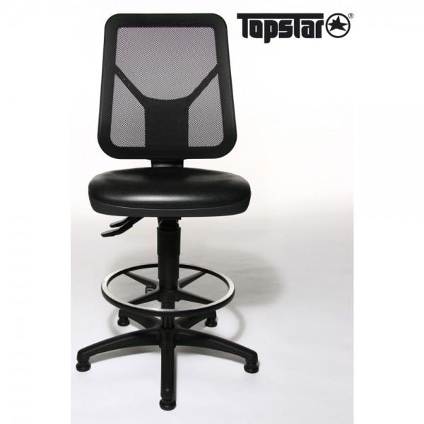Arbeitsstuhl TEC 80 Counter, Gestell mit 5 Gleitern, schwarz