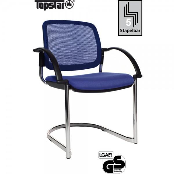 Besucherstuhl Open Chair 30 Visitor, Netzrücken, blau