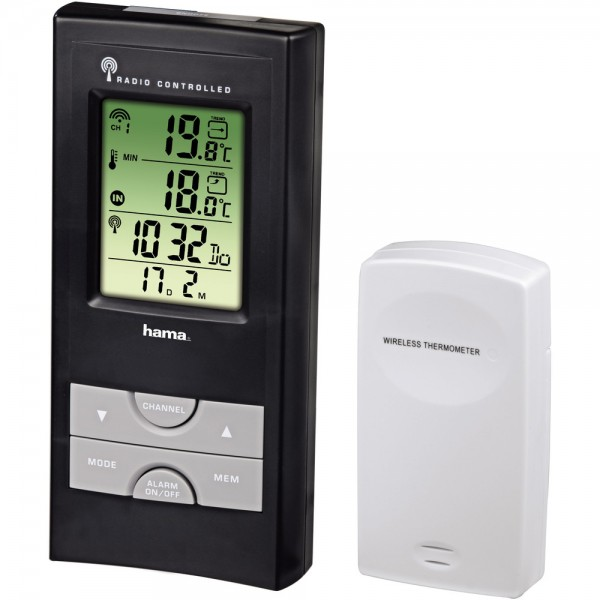 El.Wetterstation EWS-165 funk schwarz m.Batterie m.Sensor