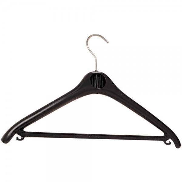 Kleiderbügel, ABS, Haken drehbar, mit Steg, mit Häkchen, schwarz