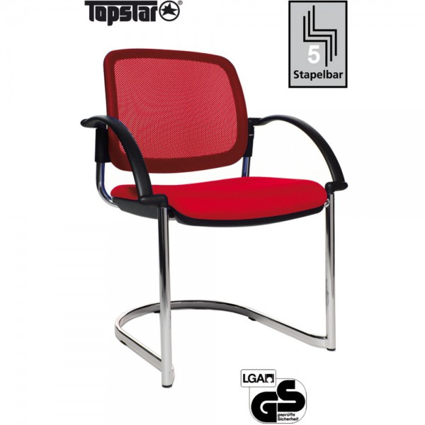 Besucherstuhl Open Chair 30 Visitor, Netzrücken, rot