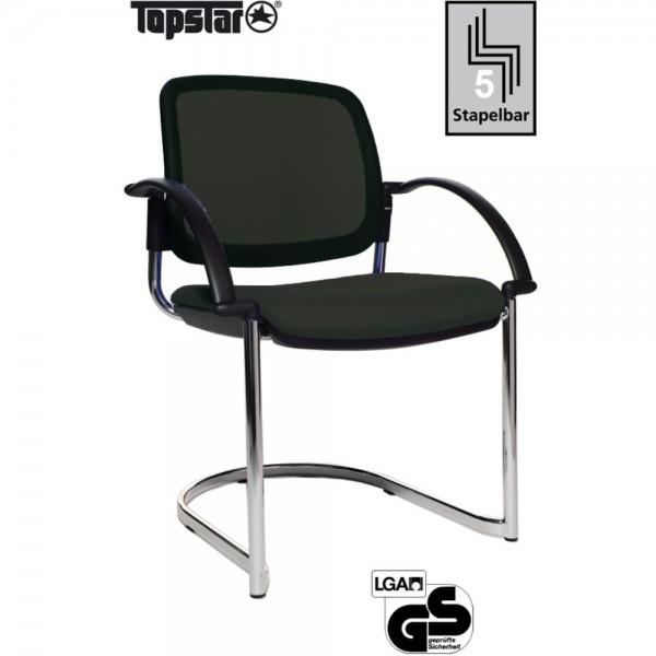 Besucherstuhl Open Chair 30 Visitor, Netzrücken, schwarz