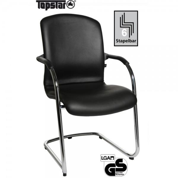 Visitor Open Chair 110-Leder schwarz Freischw.
