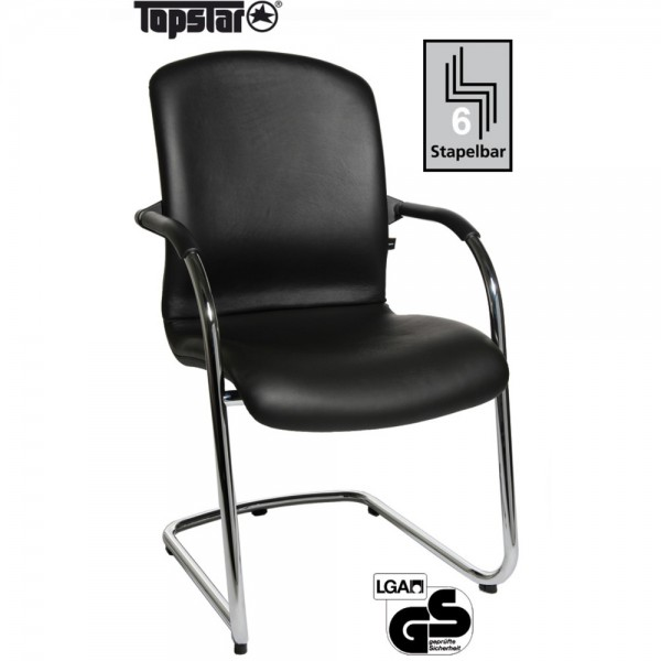 Besucherstuhl Open Chair 110 Visitor, Gepolstert, Leder, schwarz