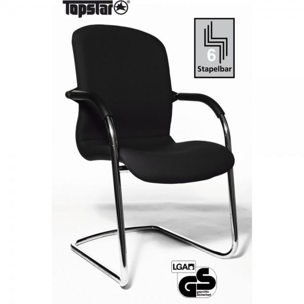 Besucherstuhl Open Chair 100 Visitor, Netzrücken, Leder, schwarz
