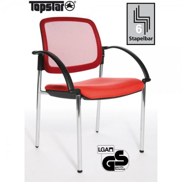 Besucherstuhl Open Chair 10 Visitor, m.Arml., rot