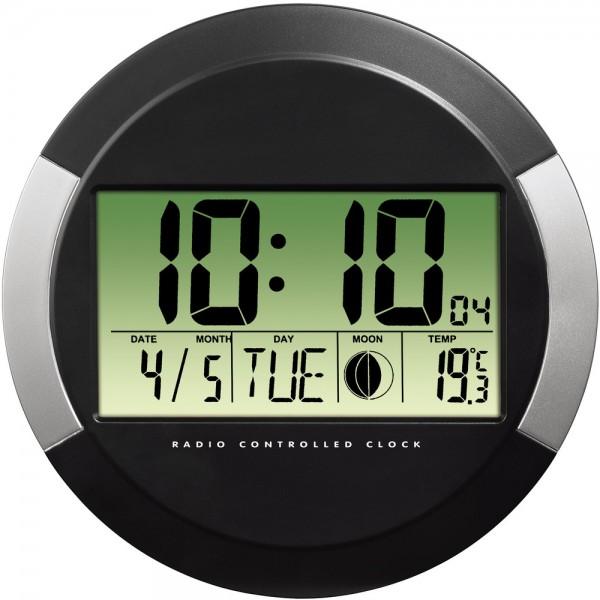 Wanduhr PP-245, Funk, Ø: 24,5 cm, schwarz, digitale Anzeige, grau