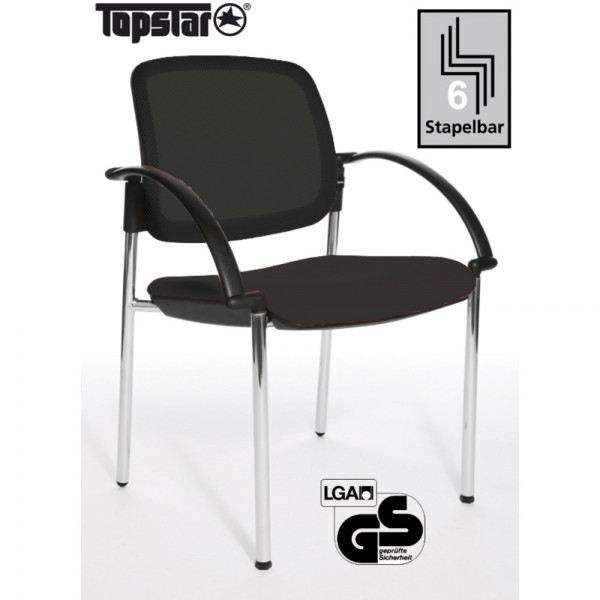 Besucherstuhl Open Chair 10 Visitor, m.Arml., schwarz