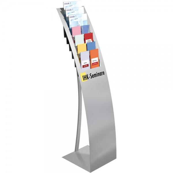 Prospektständer Varia 7xA4 silber 32x34x132cm