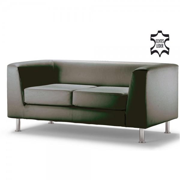 Sofa Wait, Zweisitzer, 148x78x66cm, m.Arml., Leder, sw