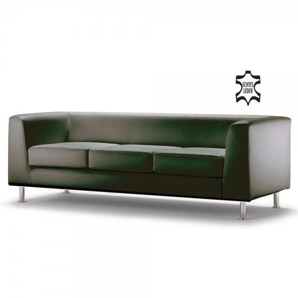 Sofa Wait, Dreisitzer, 198x78x66cm, m.Arml., Leder, sw