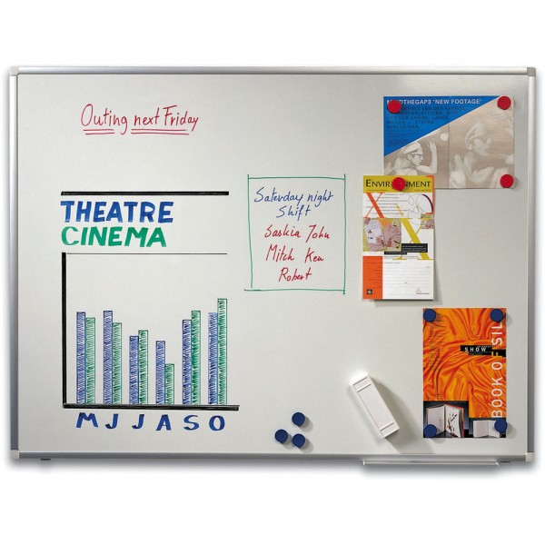 Schreibtafel, emailliert, magnetisch, 180x90cm, Alurahmen