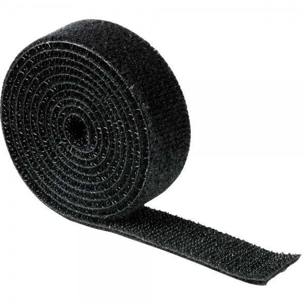 Klettband universell auf Rolle schwarz 19mm x 1m